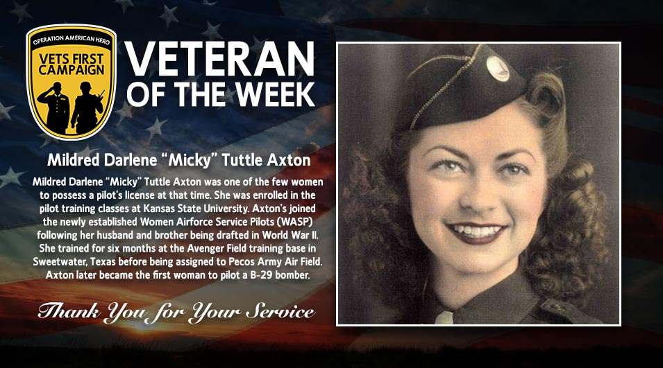 Mildred Darlene Tuttle Axton, Operation American Hero, Veteran of the Week